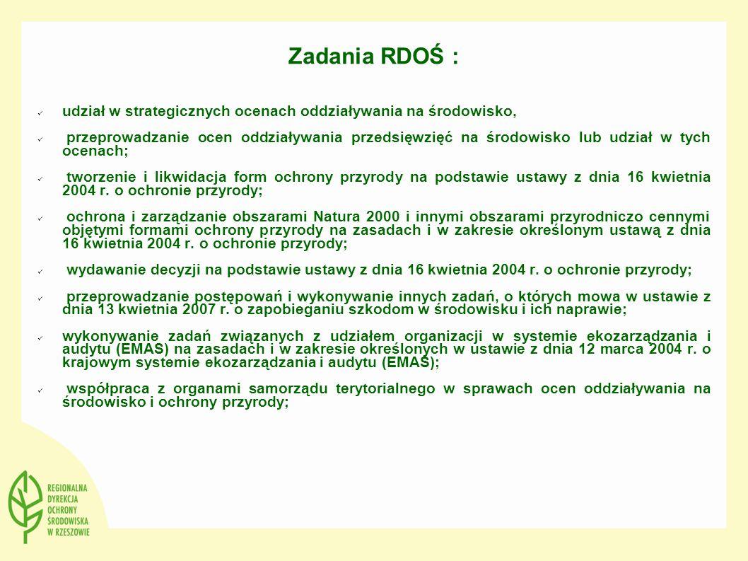 Zadania RDOŚ : udział w strategicznych ocenach oddziaływania na środowisko, przeprowadzanie ocen oddziaływania przedsięwzięć na środowisko lub udział