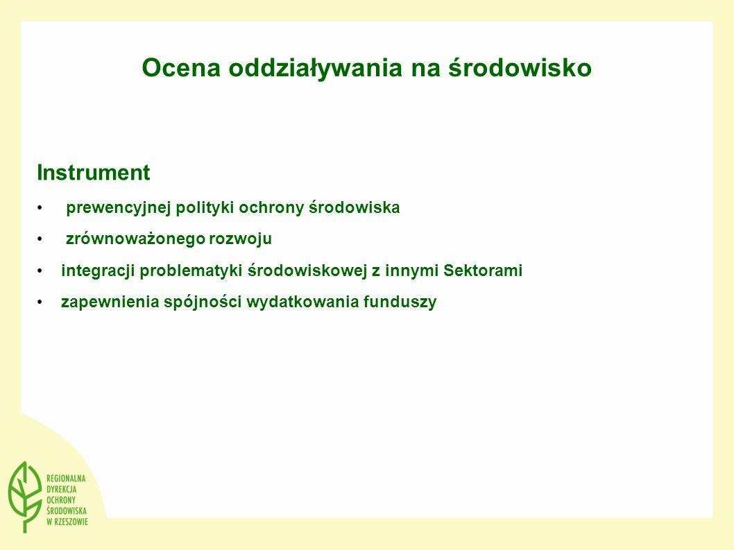 Ocena oddziaływania na środowisko Instrument prewencyjnej polityki ochrony środowiska zrównoważonego rozwoju integracji problematyki środowiskowej z i