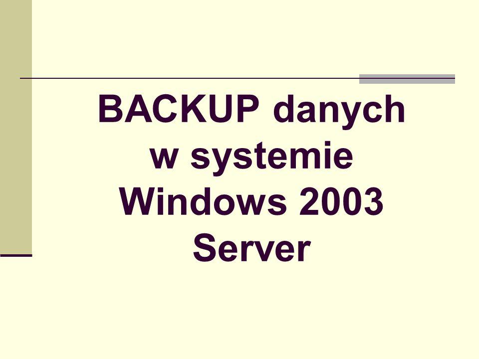 System State – lista komponentów Rejestr (registry) Pliki startowe (boot files) Baza danych COM+ Pliki chronione przez Windows File Protection Baza usług uwierzytelniających (Certificate Services) Informacje o usłudze klastra (Cluster service) Metadane serwera IIS Informacje o Active Directory Katalog SYSVOL