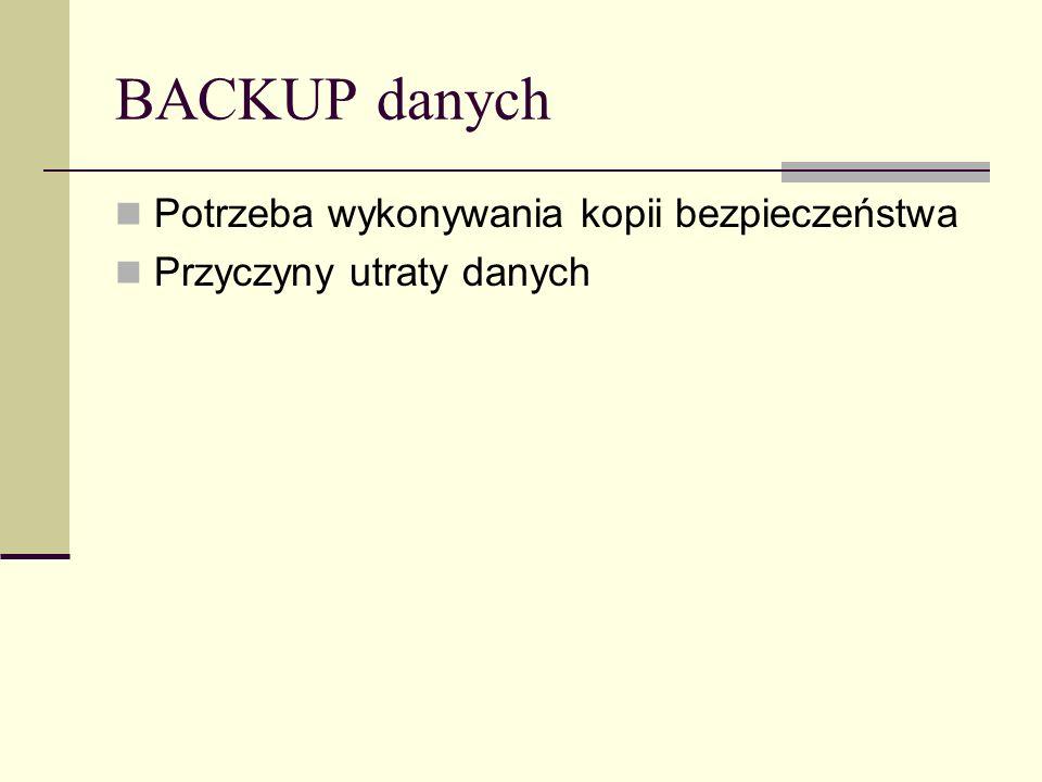 Kopia normalna+przyrostowa Kombinacja taka może być wykorzystana do szybkiego składowania danych: Wykonujemy backup normalny Wykonujemy backupy przyrostowe Przywracanie danych jest czasochłonne i często skomplikowane: Przywracamy dane z backupu normalnego Kolejno przywracamy wszystkie dane z backupów przyrostowych w porządku chronologicznym