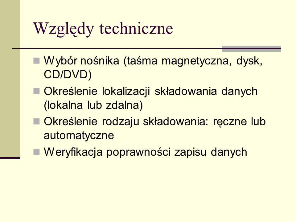 Typy kopii zapasowych Normalna (normal) Kopia (copy) Różnicowa (differential) Przyrostowa (incremental) Codzienna (daily)