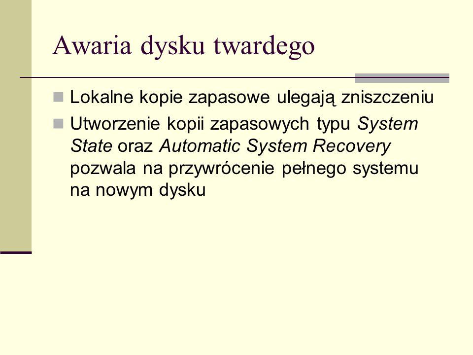 Kopie zapasowe System State Określają specyficzne dla systemu Windows 2003 dane systemowe Używane są do załadowania, skonfigurowania i uruchomienia systemu Windows 2003 Możliwe do wykonania tylko lokalnie (ewentualnie skopiowane później na inny komputer)