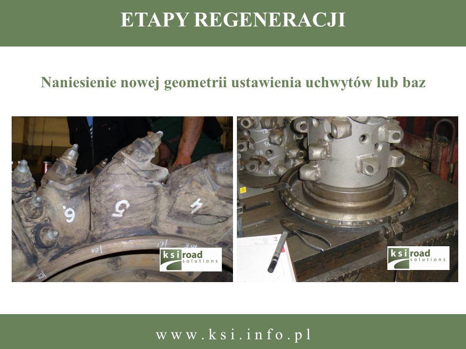 ETAPY REGENERACJI Naniesienie nowej geometrii ustawienia uchwytów lub baz w w w. k s i. i n f o. p l