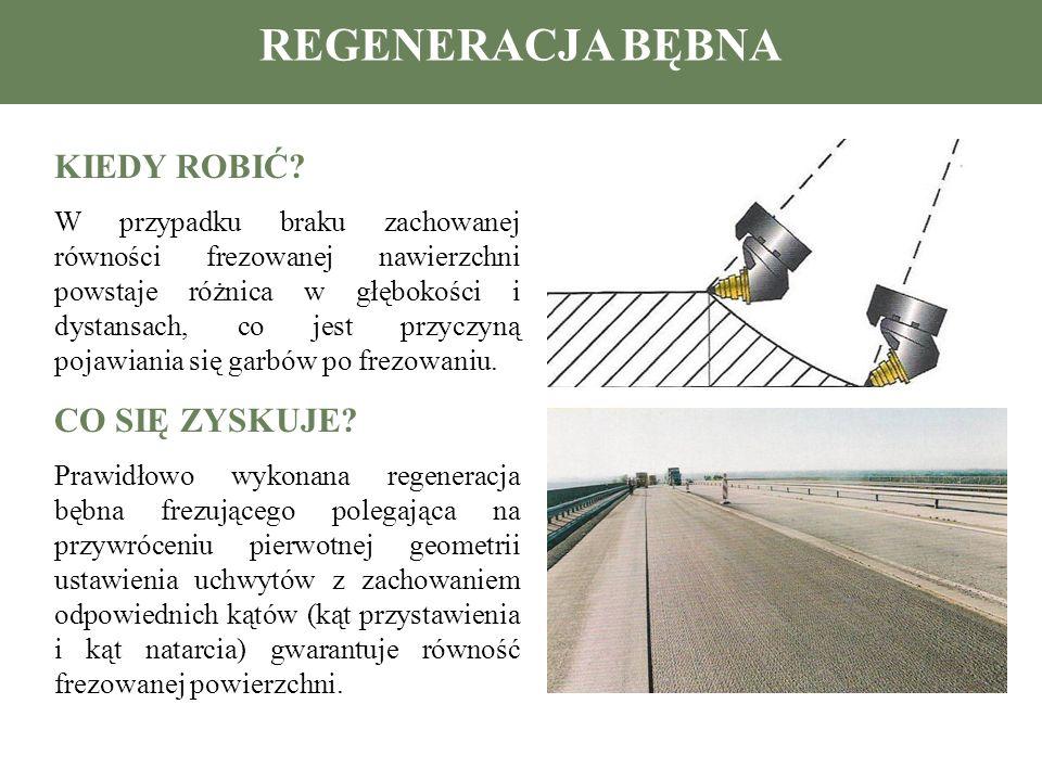 RODZAJE WYKONYWANYCH REMONTÓW Wykonanie nowego bębna z zachowaniem standardowego rozmieszczenia uchwytów Wykonanie nowego bębna z podwójnym zagęszczeniem uchwytów do frezowania planimetrycznego – likwidacja kolein