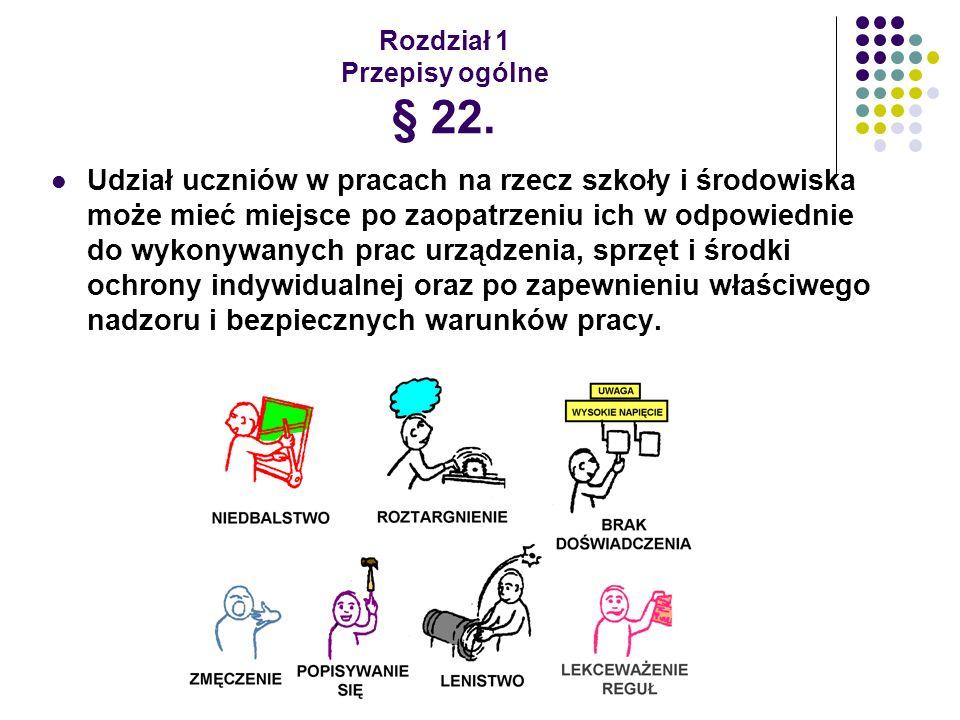 Rozdział 1 Przepisy ogólne § 22. Udział uczniów w pracach na rzecz szkoły i środowiska może mieć miejsce po zaopatrzeniu ich w odpowiednie do wykonywa