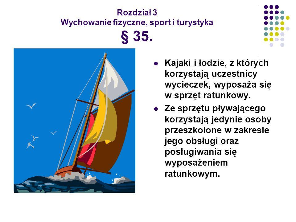 Rozdział 3 Wychowanie fizyczne, sport i turystyka § 35. Kajaki i łodzie, z których korzystają uczestnicy wycieczek, wyposaża się w sprzęt ratunkowy. Z