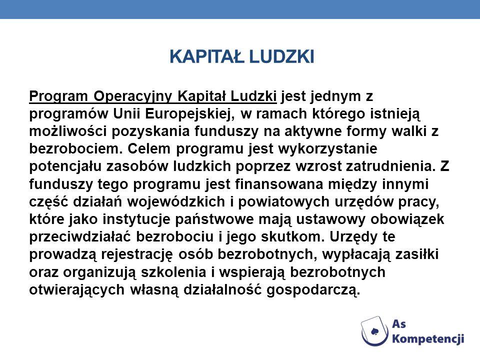KAPITAŁ LUDZKI Program Operacyjny Kapitał Ludzki jest jednym z programów Unii Europejskiej, w ramach którego istnieją możliwości pozyskania funduszy n