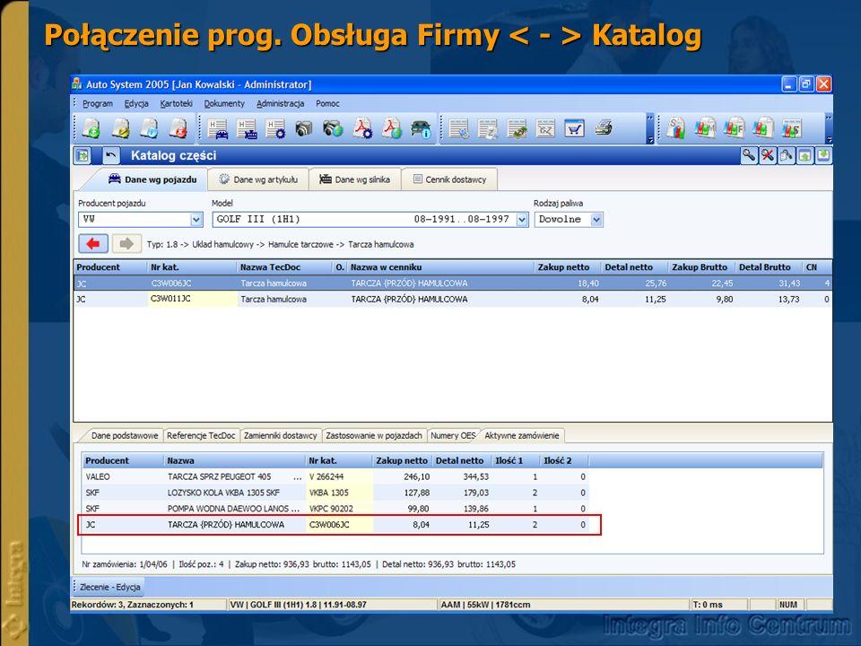 Połączenie prog. Obsługa Firmy Katalog