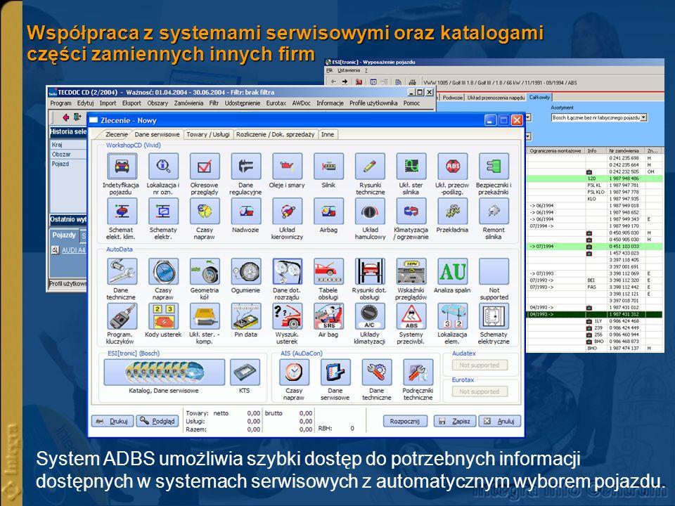 Współpraca z systemami serwisowymi oraz katalogami części zamiennych innych firm System ADBS umożliwia szybki dostęp do potrzebnych informacji dostępn