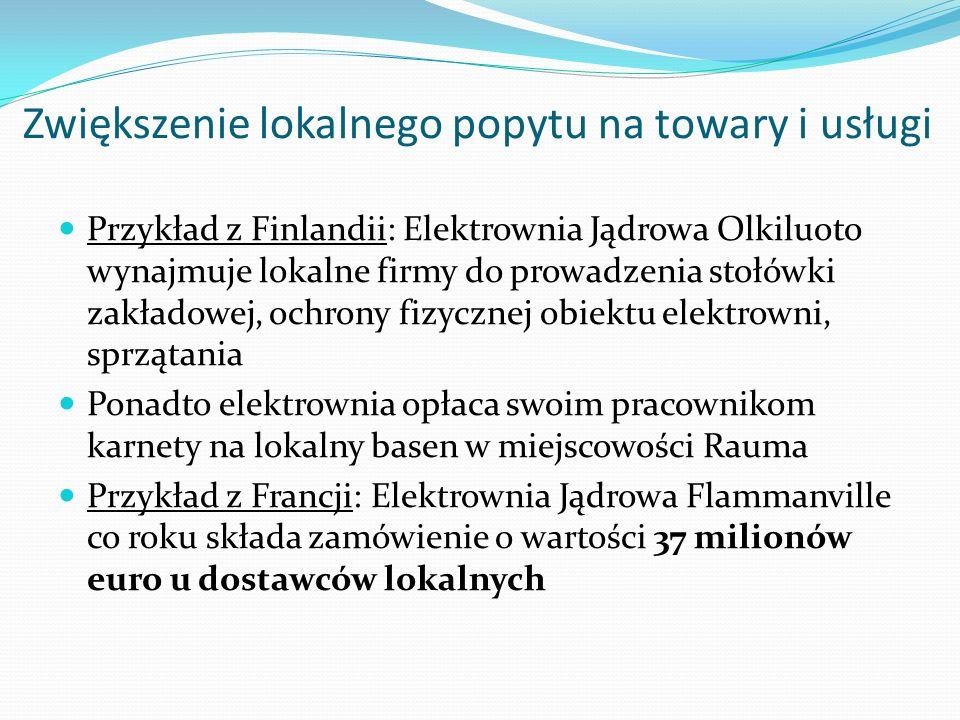 Zwiększenie lokalnego popytu na towary i usługi Przykład z Finlandii: Elektrownia Jądrowa Olkiluoto wynajmuje lokalne firmy do prowadzenia stołówki za