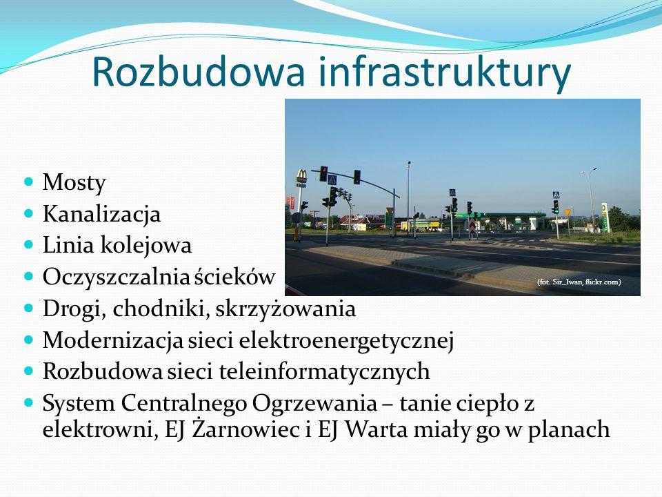 Rozbudowa infrastruktury Mosty Kanalizacja Linia kolejowa Oczyszczalnia ścieków (fot. Sir_Iwan, flickr.com) Drogi, chodniki, skrzyżowania Modernizacja