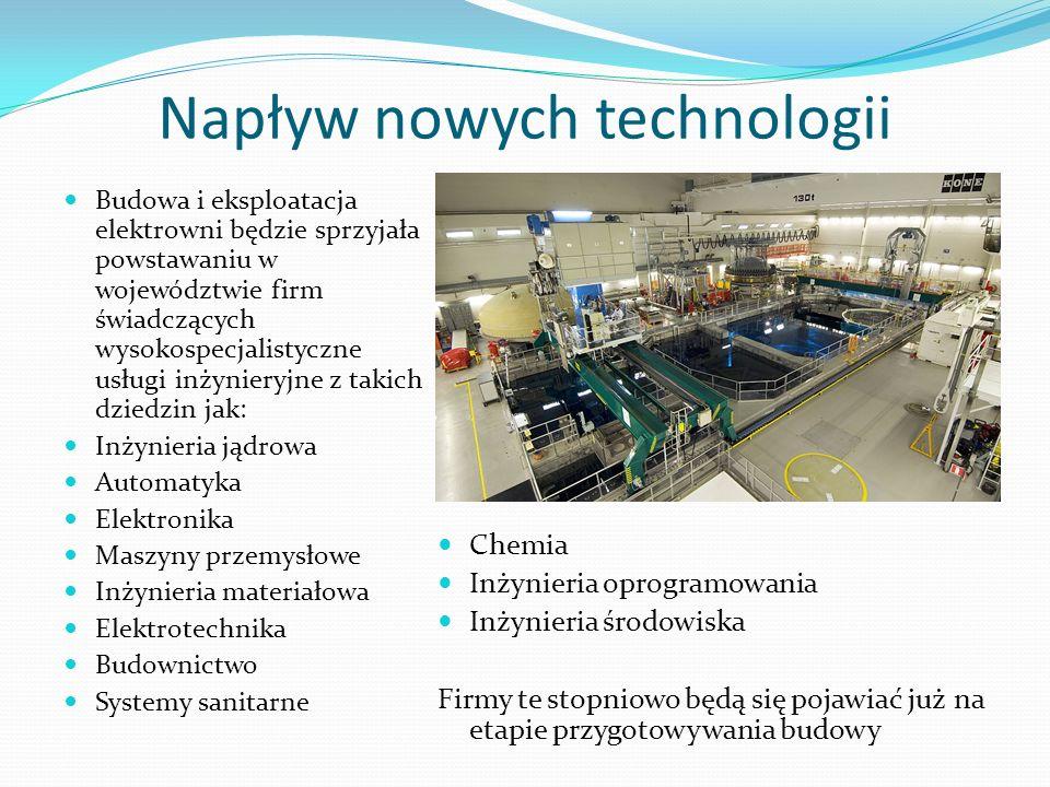 Napływ nowych technologii Budowa i eksploatacja elektrowni będzie sprzyjała powstawaniu w województwie firm świadczących wysokospecjalistyczne usługi