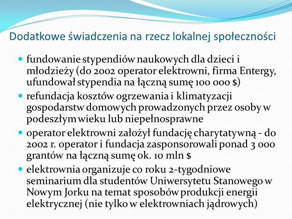 Dodatkowe świadczenia na rzecz lokalnej społeczności fundowanie stypendiów naukowych dla dzieci i młodzieży (do 2002 operator elektrowni, firma Enterg