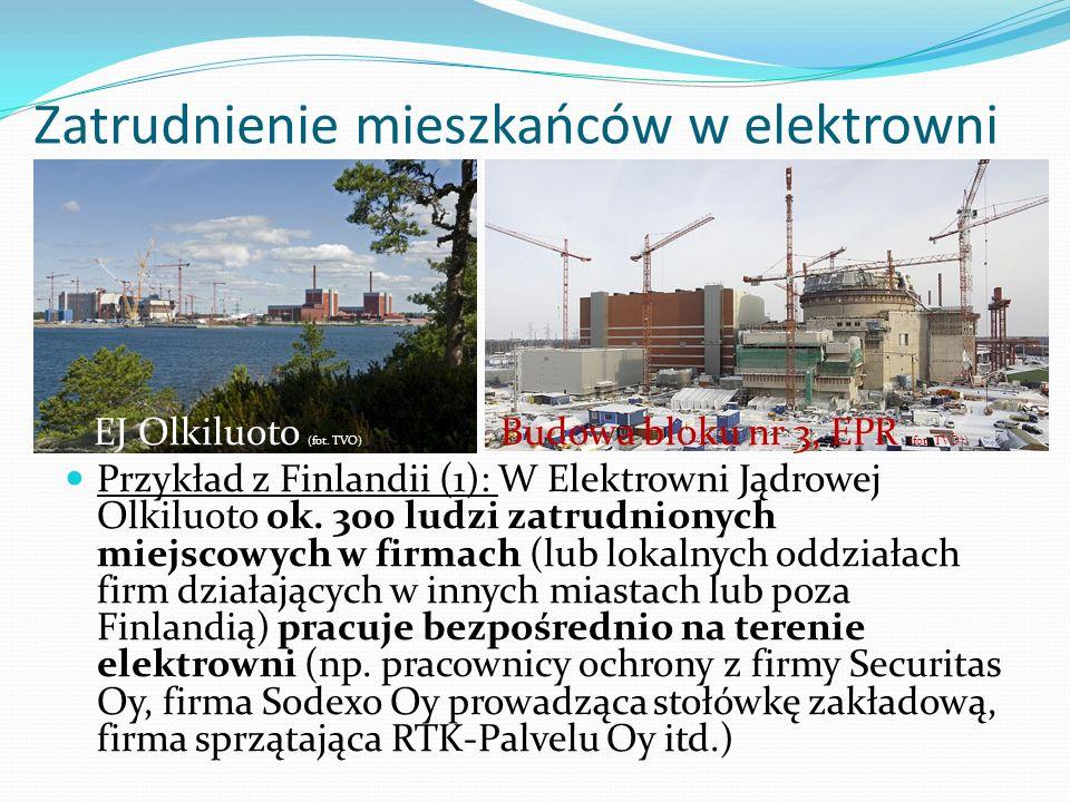 Zatrudnienie mieszkańców w elektrowni EJ Olkiluoto (fot. TVO) EPR, Budowa bloku nr 3, EPR (fot. TVO)) Przykład z Finlandii (1): W Elektrowni Jądrowej
