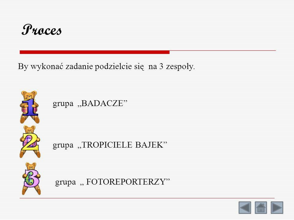 Proces By wykonać zadanie podzielcie się na 3 zespoły. grupa TROPICIELE BAJEK grupa BADACZE grupa FOTOREPORTERZY