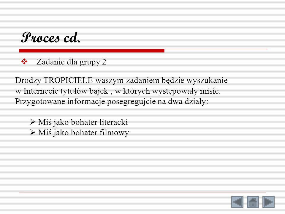 Zadanie dla grupy 2 Proces cd. Drodzy TROPICIELE waszym zadaniem będzie wyszukanie w Internecie tytułów bajek, w których występowały misie. Przygotowa