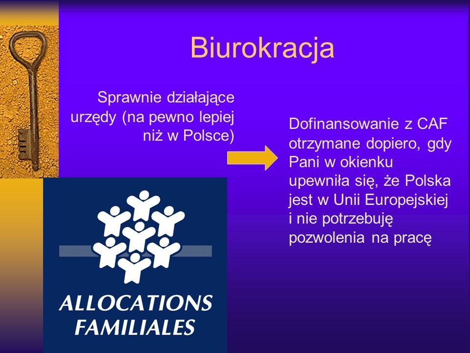Biurokracja Sprawnie działające urzędy (na pewno lepiej niż w Polsce) Dofinansowanie z CAF otrzymane dopiero, gdy Pani w okienku upewniła się, że Pols