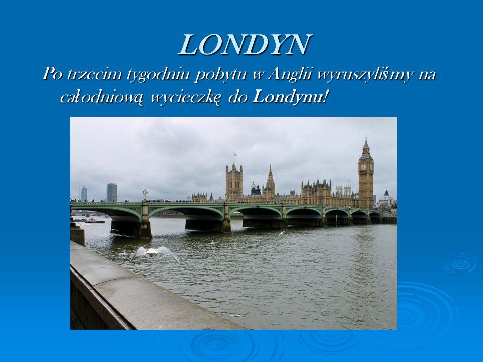LONDYN Po trzecim tygodniu pobytu w Anglii wyruszyli ś my na ca ł odniow ą wycieczk ę do Londynu!