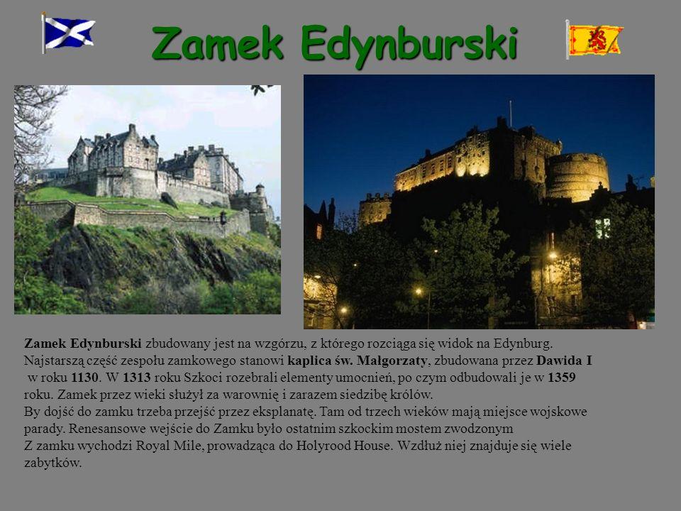 Zamek Edynburski Zamek Edynburski zbudowany jest na wzgórzu, z którego rozciąga się widok na Edynburg. Najstarszą część zespołu zamkowego stanowi kapl