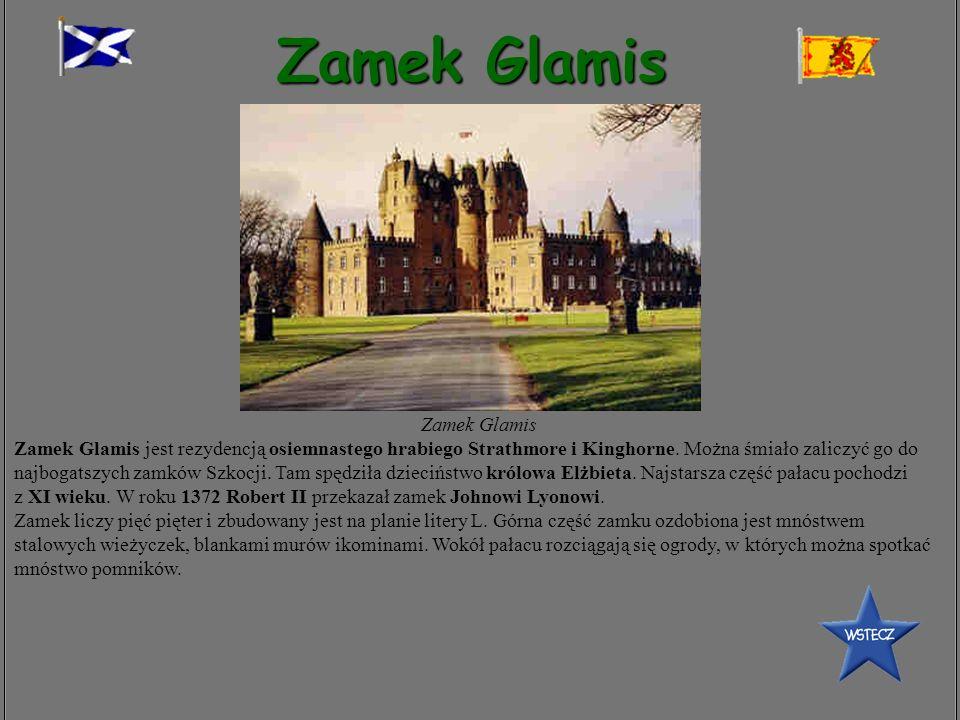 Zamek Glamis Zamek Glamis Zamek Glamis jest rezydencją osiemnastego hrabiego Strathmore i Kinghorne. Można śmiało zaliczyć go do najbogatszych zamków