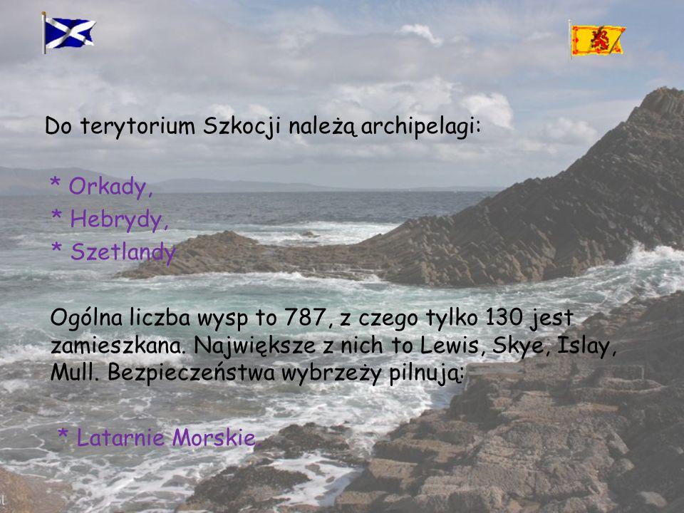 Do terytorium Szkocji należą archipelagi: * Orkady, * Hebrydy, * Szetlandy Ogólna liczba wysp to 787, z czego tylko 130 jest zamieszkana.