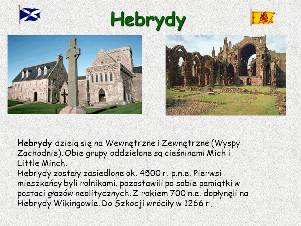 Hebrydy Hebrydy dzielą się na Wewnętrzne i Zewnętrzne (Wyspy Zachodnie). Obie grupy oddzielone są cieśninami Mich i Little Minch. Hebrydy zostały zasi