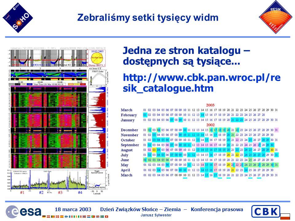 18 marca 2003 Dzień Związków Słońce – Ziemia – Konferencja prasowa Janusz Sylwester C B KC B K Koniec części merytorycznej