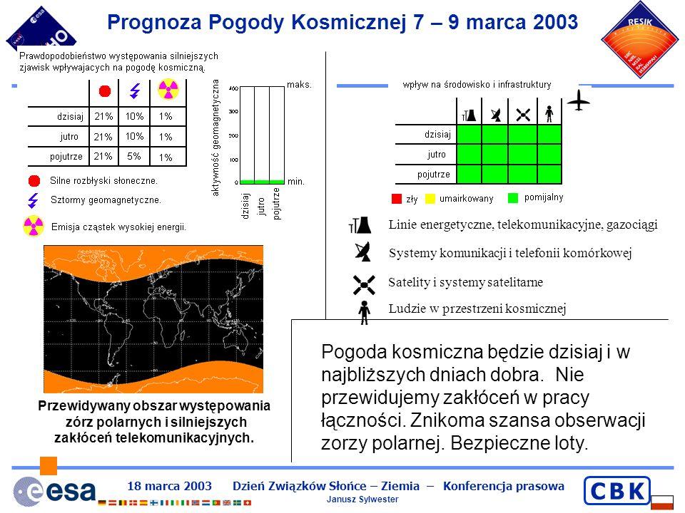 18 marca 2003 Dzień Związków Słońce – Ziemia – Konferencja prasowa Janusz Sylwester C B KC B K Prognoza Pogody Kosmicznej 11 – 13 marca 1989 r.