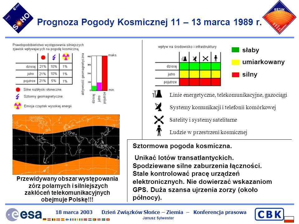 18 marca 2003 Dzień Związków Słońce – Ziemia – Konferencja prasowa Janusz Sylwester C B KC B K Jak bezpiecznie obserwować Słońce NIGDY nie patrzeć bezpośrednio (przez lornetkę, teleskop, lunetę) Tak można