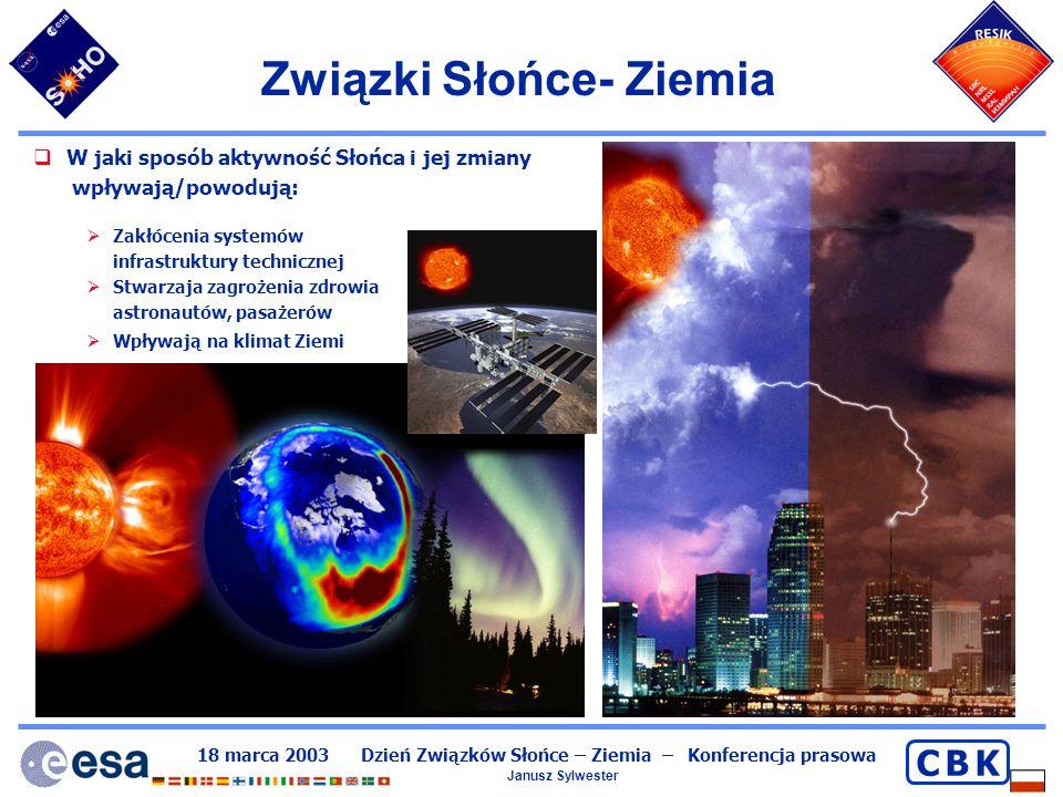 18 marca 2003 Dzień Związków Słońce – Ziemia – Konferencja prasowa Janusz Sylwester C B KC B K Związki Słońce- Ziemia W jaki sposób aktywność Słońca i