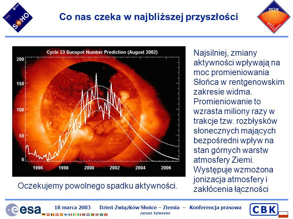 18 marca 2003 Dzień Związków Słońce – Ziemia – Konferencja prasowa Janusz Sylwester C B KC B K Wiatr słoneczny i obłoki cząstek SEP Oprócz promieniowania X i ultrafioletowego, Słońce wysyła – jak akcelerator strumień rozpędzonych cząstek elektronów i protonów – wiatr słoneczny.