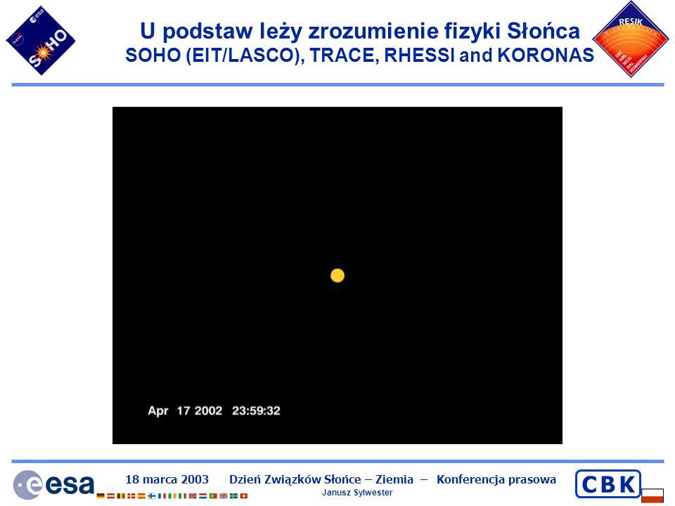 18 marca 2003 Dzień Związków Słońce – Ziemia – Konferencja prasowa Janusz Sylwester C B KC B K Co robi nasza grupa Aktywnie od ~30 lat uczestniczymy w badaniach eksperymentalnych z wykorzystaniem technik kosmicznych – rakiety geofizyczne, satelity.
