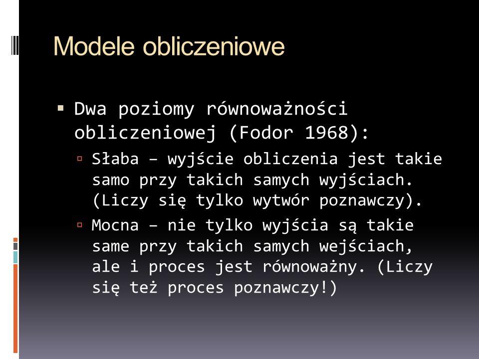 Modele obliczeniowe Dwa poziomy równoważności obliczeniowej (Fodor 1968): Słaba – wyjście obliczenia jest takie samo przy takich samych wyjściach. (Li