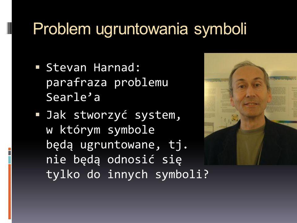 Problem ugruntowania symboli Stevan Harnad: parafraza problemu Searlea Jak stworzyć system, w którym symbole będą ugruntowane, tj. nie będą odnosić si