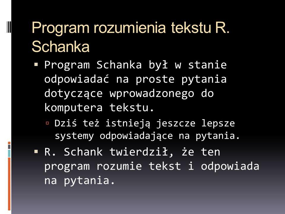 Program rozumienia tekstu R. Schanka Program Schanka był w stanie odpowiadać na proste pytania dotyczące wprowadzonego do komputera tekstu. Dziś też i