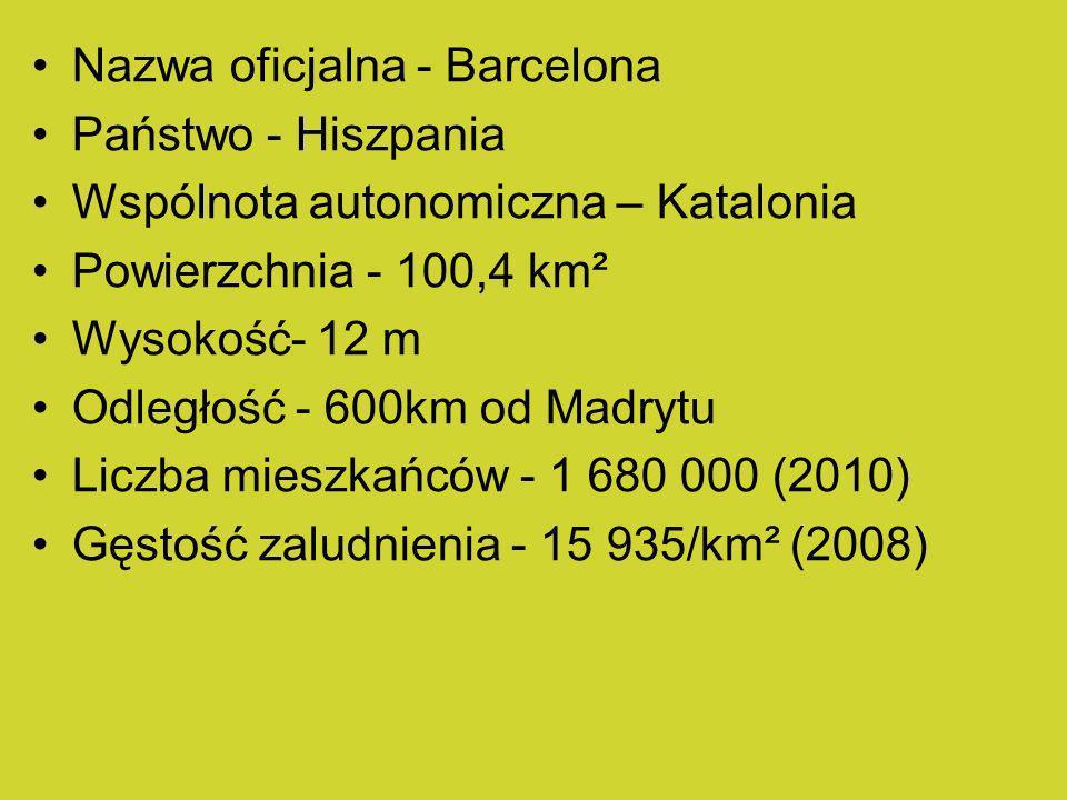 Nazwa oficjalna - Barcelona Państwo - Hiszpania Wspólnota autonomiczna – Katalonia Powierzchnia - 100,4 km² Wysokość- 12 m Odległość - 600km od Madryt