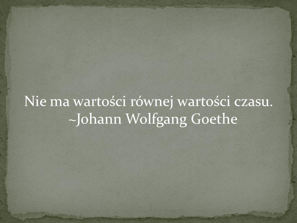 Nie ma wartości równej wartości czasu. ~Johann Wolfgang Goethe