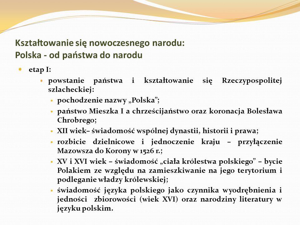Kształtowanie się nowoczesnego narodu: Polska - od państwa do narodu etap I: powstanie państwa i kształtowanie się Rzeczypospolitej szlacheckiej: poch