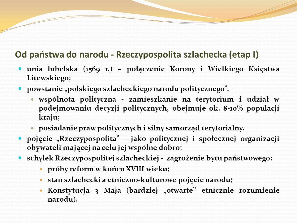 Od państwa do narodu - Rzeczypospolita szlachecka (etap I) unia lubelska (1569 r.) – połączenie Korony i Wielkiego Księstwa Litewskiego; powstanie pol
