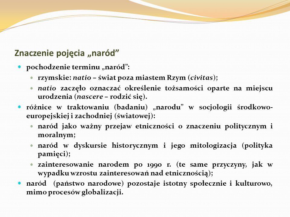Znaczenie pojęcia naród pochodzenie terminu naród: rzymskie: natio – świat poza miastem Rzym (civitas); natio zaczęło oznaczać określenie tożsamości o