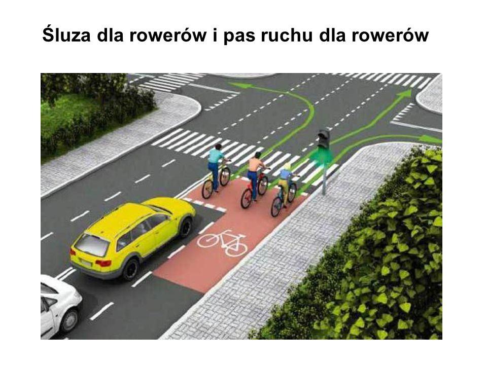 Wyprzedzanie przez rower z prawej strony Kierujący rowerem może wyprzedzać inne niż rower powoli jadące pojazdy z ich prawej strony.