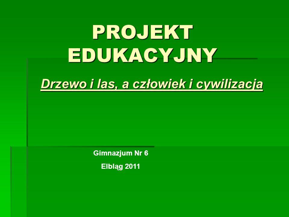 PROJEKT EDUKACYJNY Drzewo i las, a człowiek i cywilizacja Gimnazjum Nr 6 Elbląg 2011