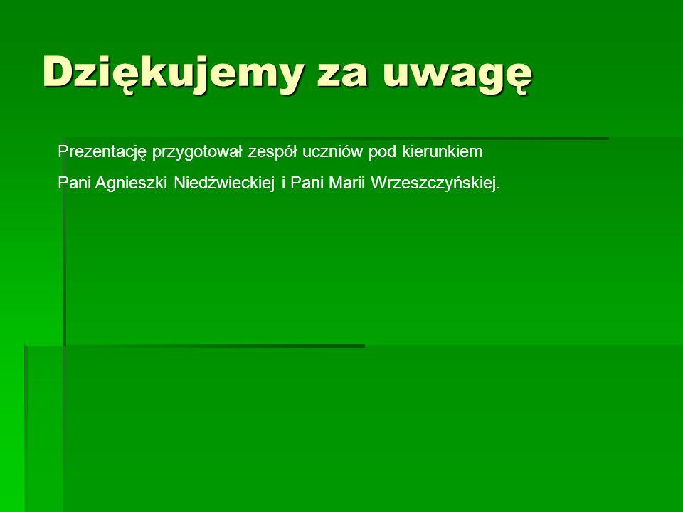 Dziękujemy za uwagę Prezentację przygotował zespół uczniów pod kierunkiem Pani Agnieszki Niedźwieckiej i Pani Marii Wrzeszczyńskiej.