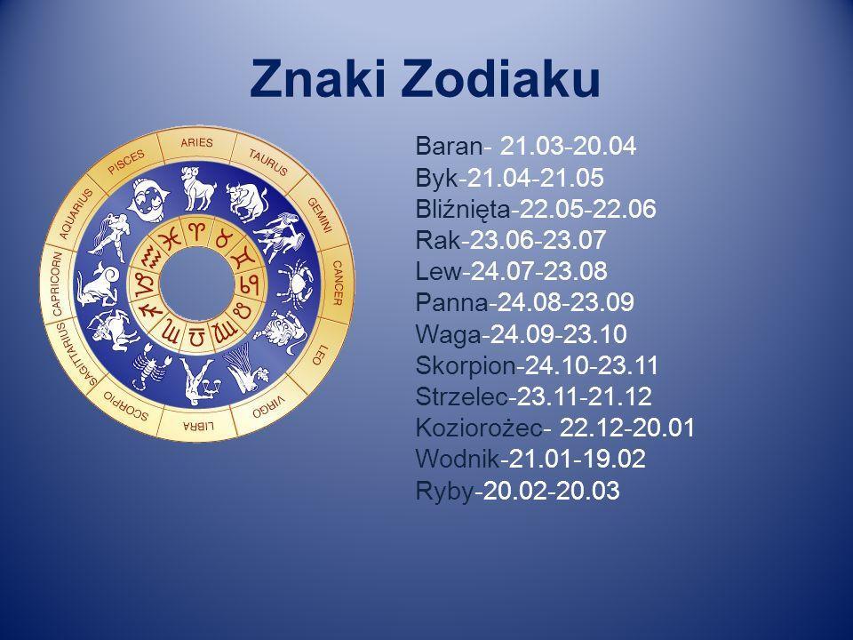 Znaki Zodiaku Baran- 21.03-20.04 Byk-21.04-21.05 Bliźnięta-22.05-22.06 Rak-23.06-23.07 Lew-24.07-23.08 Panna-24.08-23.09 Waga-24.09-23.10 Skorpion-24.