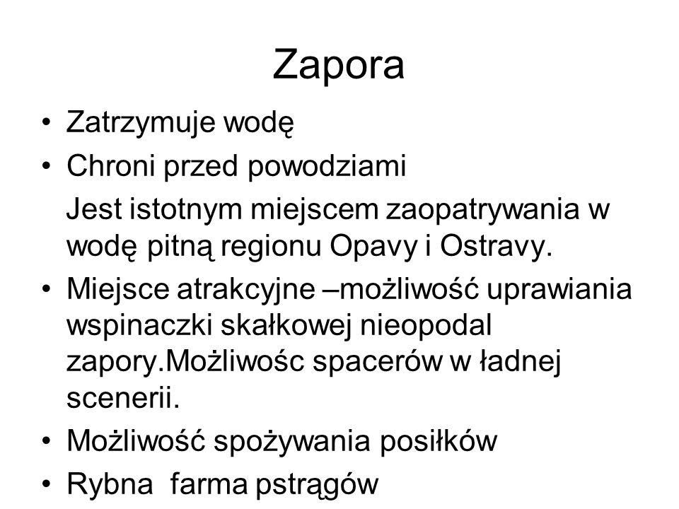 Zatrzymuje wodę Chroni przed powodziami Jest istotnym miejscem zaopatrywania w wodę pitną regionu Opavy i Ostravy.