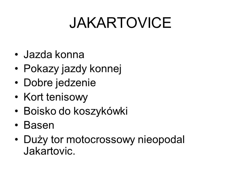 JAKARTOVICE Jazda konna Pokazy jazdy konnej Dobre jedzenie Kort tenisowy Boisko do koszykówki Basen Duży tor motocrossowy nieopodal Jakartovic.