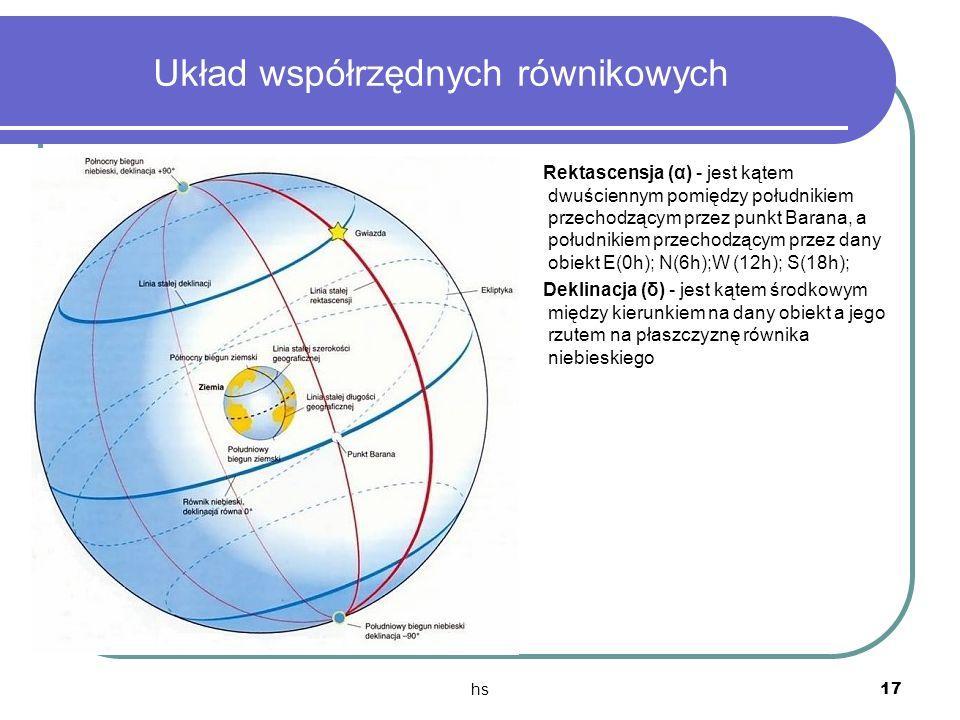 hs 17 Układ współrzędnych równikowych Rektascensja (α) - jest kątem dwuściennym pomiędzy południkiem przechodzącym przez punkt Barana, a południkiem p