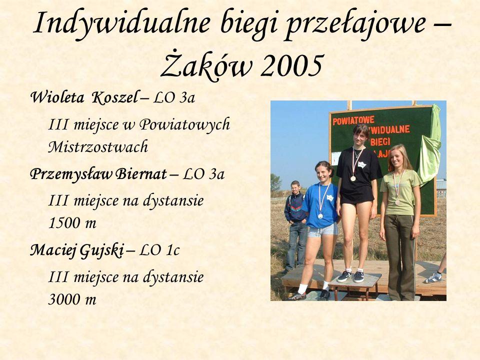 Indywidualne biegi przełajowe – Żaków 2005 Wioleta Koszel – LO 3a III miejsce w Powiatowych Mistrzostwach Przemysław Biernat – LO 3a III miejsce na dy