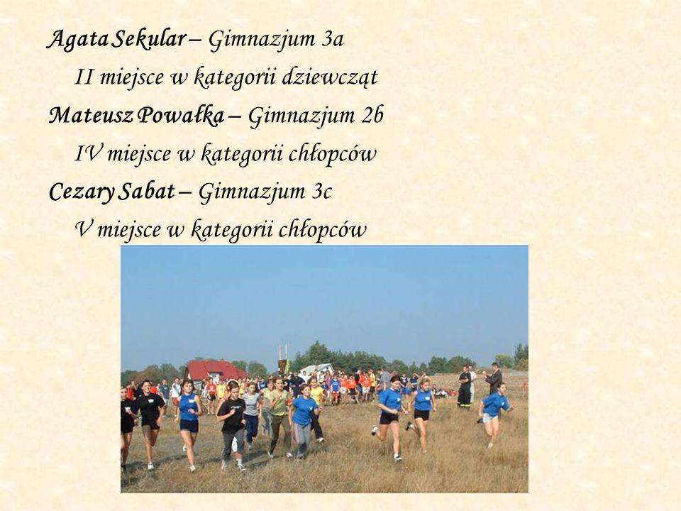 Agata Sekular – Gimnazjum 3a II miejsce w kategorii dziewcząt Mateusz Powałka – Gimnazjum 2b IV miejsce w kategorii chłopców Cezary Sabat – Gimnazjum