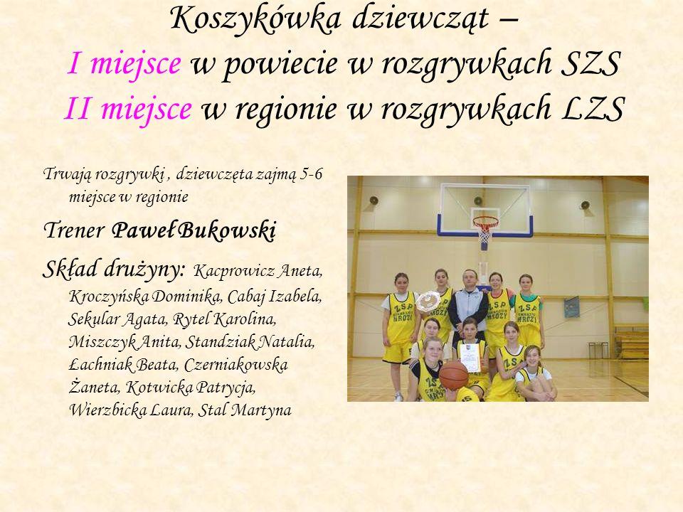 Koszykówka dziewcząt – I miejsce w powiecie w rozgrywkach SZS II miejsce w regionie w rozgrywkach LZS Trwają rozgrywki, dziewczęta zajmą 5-6 miejsce w